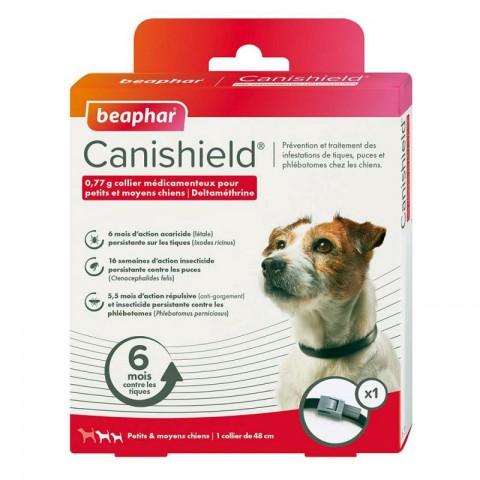 CANISHIELD collier anti tiques et anti puces pour petits et moyens chiens. Boite de 1 collier