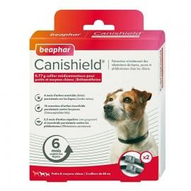 CANISHIELD collier anti puces et anti tiques pour petits et moyens chien. Boite de 2 colliers