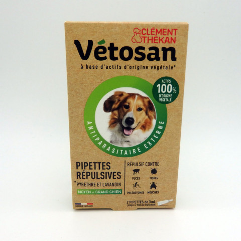 VETOSAN PIPETTES REPULSIVES MOYEN/GRAND CHIEN 2X3ML