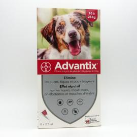 ADVANTIX CHIEN 10-25KG réduit le risque de transmission de maladies dues au tiques et puces